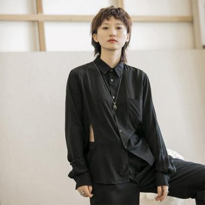 設計所在Style-垂感腰部破口個性修身休閒襯衫