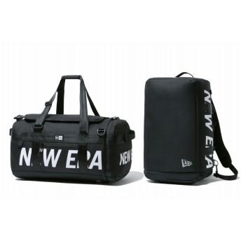 NEW ERA ニューエラ クラブ ダッフルバッグ Mid 35L 2ウェイ プリントロゴ ブラック × ホワイト ドラムバッグ ダッフルバッグ 大容量 PC収納 バッグ メンズ レディース ワンサイズ 12108751 NEWERA