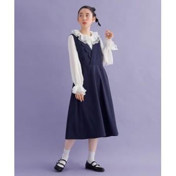 メルロー スカラップカシュクール襟ワンピース レディース ネイビー FREE 【merlot】