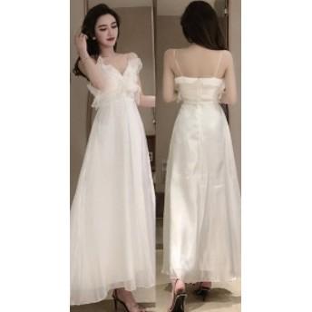 ロングドレス 結婚式 お呼ばれ ドレス パーティードレス マキシ丈 ワンピース 20代 30代 40代 フリル 大人可愛い 袖なし 透け感