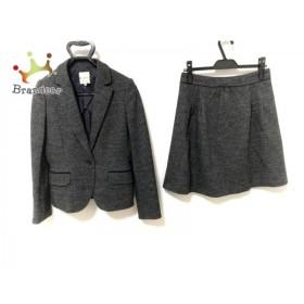 クミキョク 組曲 KUMIKYOKU スカートスーツ サイズ3 L レディース 美品 ダークグレー×ネイビー 新着 20190903