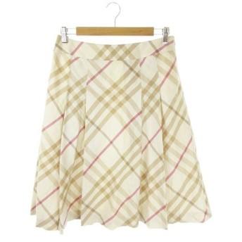【中古】バーバリー ロンドン BURBERRY LONDON スカート ひざ丈 台形 フレア タック 大きいサイズ チェック 総柄 44 ベージュ /AH10 レディース
