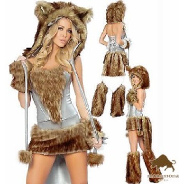 [即納]アニマル コスプレ 着ぐるみ ゴールド ウルフ 動物 ハロウィン セクシー グループ 団体 衣装 6点セット 仮装 コスチューム