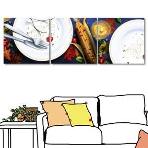 24mama掛畫-三聯式 義式餐廳佈置 寫實風無框畫-40x40cm