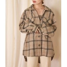 (w closet/ダブルクローゼット)起毛チェックシャツジャケット/レディース ブラウン