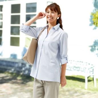 羽織れるロールアップチュニックシャツ レディース