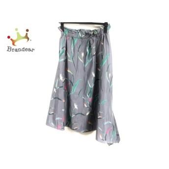 ジユウク 自由区/jiyuku ロングスカート サイズ38 M レディース 美品 グレー×グリーン×ピンク 新着 20190903