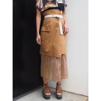 [MURUA]ヘムシアープリーツラップスカート