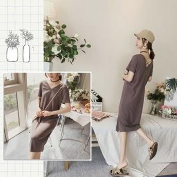 【グレー/フリーサイズ】オルチャンファッション ワンピース カジュアル 韓国ファッション 背中見せ Vネック Aライン ひざ丈