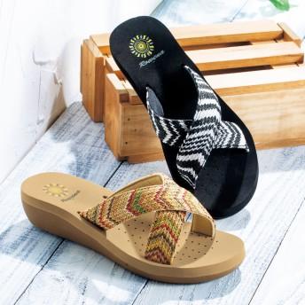 【格安-女性靴】レディース2層構造ソール厚底サンダル
