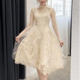 fairy lace フレア ミディアム ドレス レース 刺繍 リボン トレンド 長袖 きれいめ フェミニン エレガント パーティー 結婚式 お呼ばれ