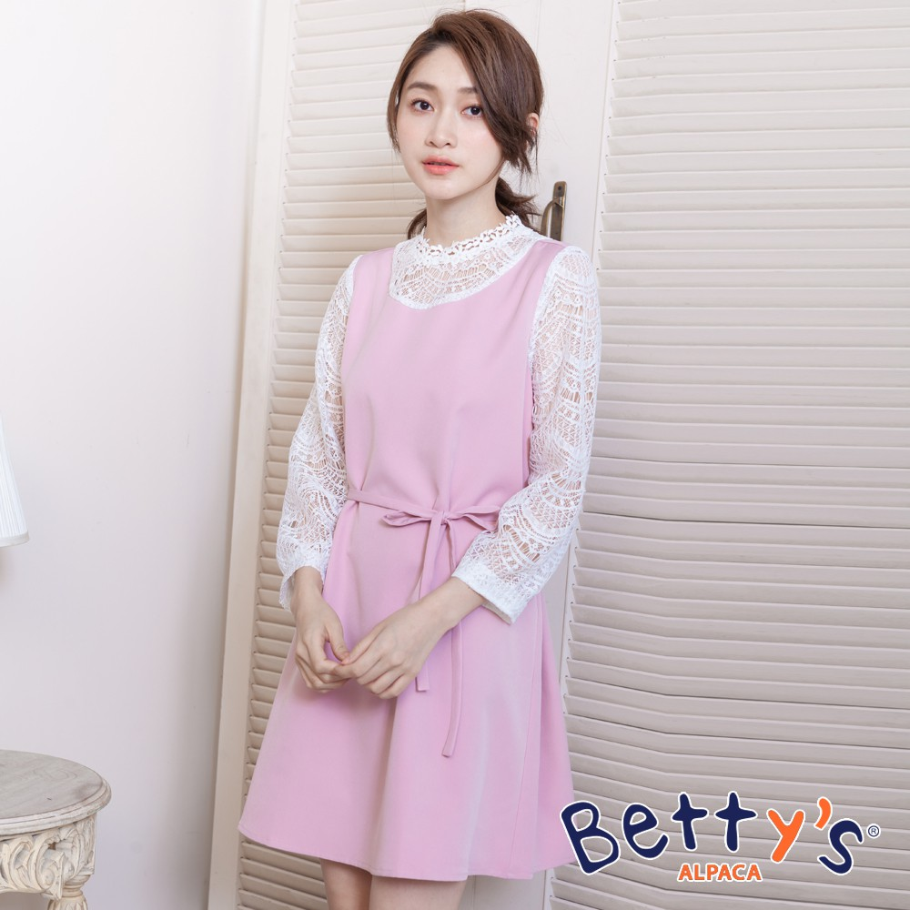 betty's貝蒂思 公主領口袖身蕾絲簍空洋裝(淺粉)