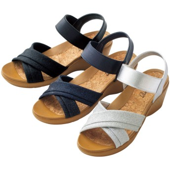 【格安-女性靴】レディースラメ素材柔らか立体インソールサンダル