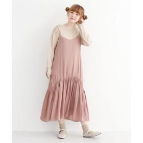 (merlot/メルロー)裾切り替えキャミワンピース/レディース ピンク