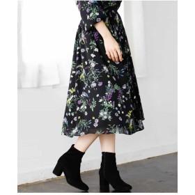 MK MICHEL KLEIN 【洗濯機で洗える】花柄ギャザースカート その他 スカート,ブラック