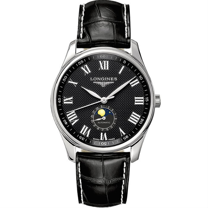 LONGINES 浪琴錶 L29194517 巨擘系列月相腕錶 皮帶款 / 黑面 42mm