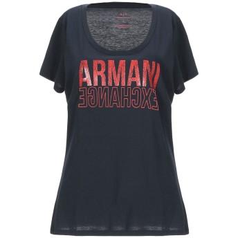 《9/20まで! 限定セール開催中》ARMANI EXCHANGE レディース T シャツ ダークブルー L コットン 50% / ポリエステル 50%