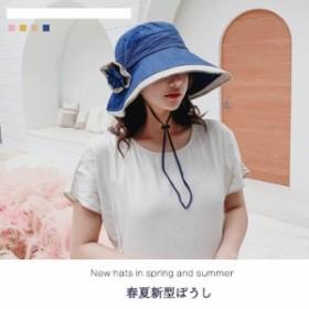 帽子 UVカット 折りたたみ アウトドア 紫外線対策 風よけがきく ひも付き フラワー付き コットン レディース ファッション