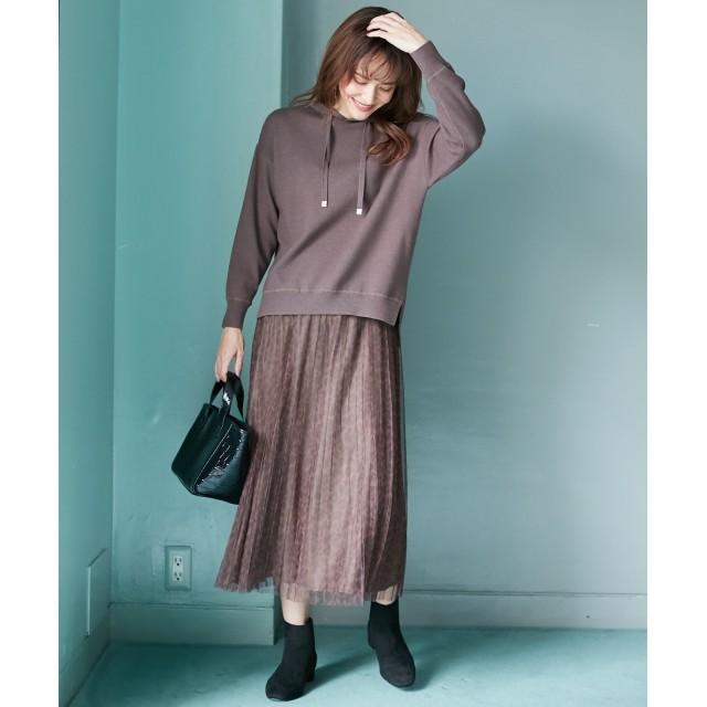 any FAM エニィファム チュールレオパードプリーツ スカート