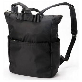 ヴェリココ(バッグ) ★選べる2サイズ リボン付きリュック レディース ブラック F 【velikoko bag】