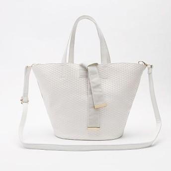 70%OFFメッシュデザイン2WAYバッグ - セシール ■カラー:ホワイト