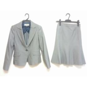 エスプリミュール ESPRITMUR スカートスーツ サイズ7 S レディース グレー×白 ストライプ【中古】20190902