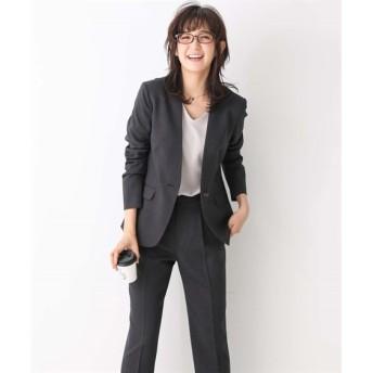 洗えるすごく伸びるノーカラー9分丈パンツスーツ【レディーススーツ】 (大きいサイズレディース)スーツ,women's suits ,plus size