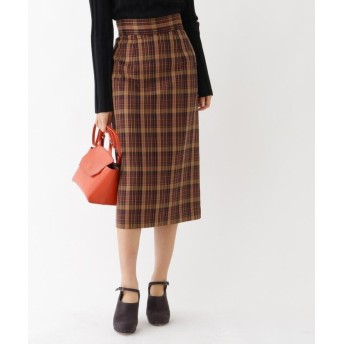 aquagirl チェックミモレタイトスカート