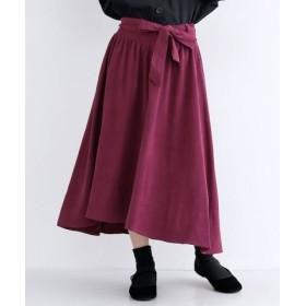 (merlot/メルロー)ウエストマークベロアスカート/レディース ピンク