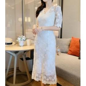 floral lacy ロング ドレス ワンピース フラワー レース 刺繍 フローラル 花柄 トレンド エレガント きれいめ 上品 結婚式 パーティー お