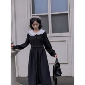 ワンピース シャツワンピ 襟付き ブラック 黒 ロリータファッション 青文字系 リボン付き  送料無料