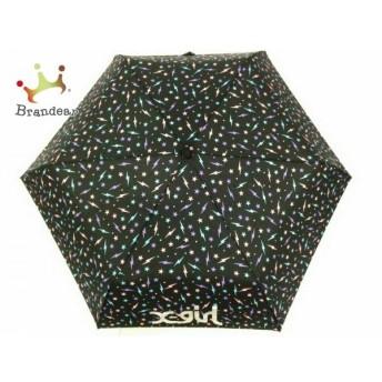 エックスガール X-GIRL 折りたたみ傘 美品 黒×パープル×マルチ 星柄/ドット柄 化学繊維 新着 20190903