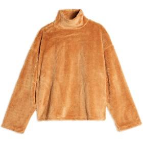 《期間限定セール開催中!》TOPSHOP レディース スウェットシャツ キャメル 6 ポリエステル 100% BROWN TEDDY JUMPER