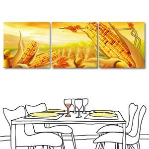 24mama掛畫-三聯式 田園 玉米 餐廳掛飾 插畫無框畫-40x40cm