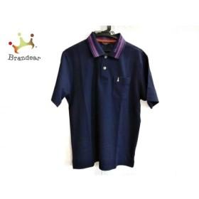 マンシングウェア Munsingwear 半袖ポロシャツ サイズLL メンズ ダークネイビー×パープル 新着 20190904