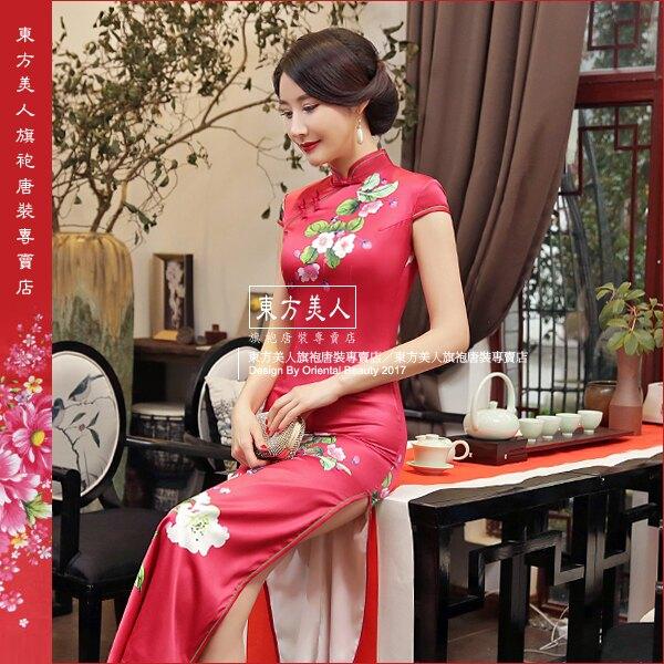 東方美人旗袍唐裝專賣店 紅塵。仿絲軟緞時尚印花半月包袖長旗袍