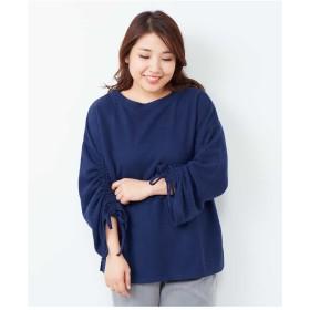 eur3 【大きいサイズ】プチプラ!軽くて暖かい!袖リボントップス Tシャツ・カットソー,ブルー