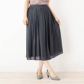 スープ SOUP 【WEB限定サイズあり】INNOWAVE シルキーローンギャザースカート (チャコールグレー)