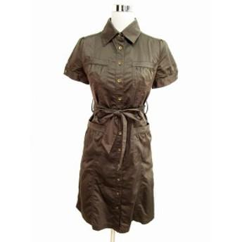 【中古】ルーニィ LOUNIE ワンピース シャツ ひざ丈 半袖 38 茶 ブラウン レディース
