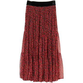 ne Quittez pas ヌキテパ/RAYON FLOWER LONG SKIRT ミモレ丈・ひざ下丈スカート,RED