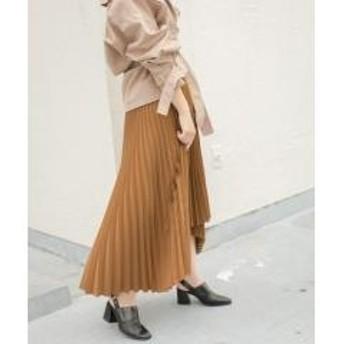 KBF+ ウーリーアシメプリーツスカート【お取り寄せ商品】