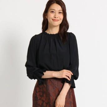 スーナウーナ SunaUna 【洗える】スタンドカラーギャザーブラウス (ブラック)