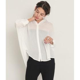 アルージュ Alluge ストライプバックデザインシャツ (オフホワイト)