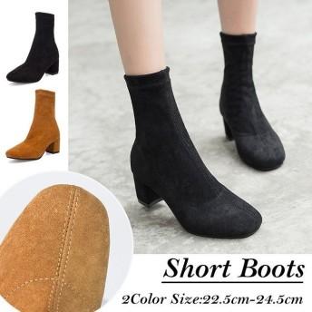 ブーツ ミドルブーツ レディース ヒール ショートブーツ ストレッチ 黒 ヒールブーツ 美脚ブーツ サイドゴアブーツ チャンキーヒール 靴 くつ 大きいサイズ