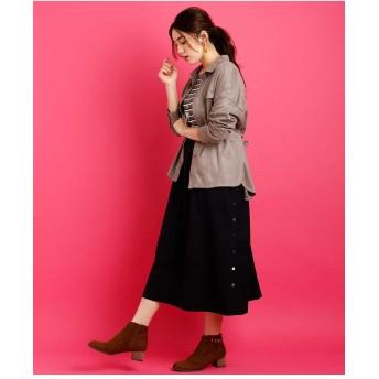 eur3 【大きいサイズ】ギャザースカートサロペット その他 スカート,ブラック