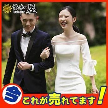 ウェディングドレス aラインドレス サテン ウエディングドレス 二次会 シンプル 七分袖 結婚式 ロングドレス 演奏会