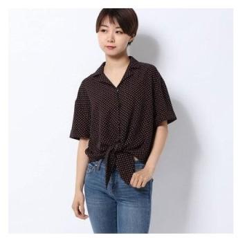 レトロガール RETRO GIRL 裾結び柄開襟SH (ブラック)