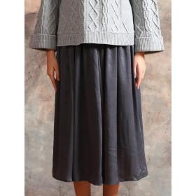 OandI OandI/オーアンドアイ マットサテンギャザースカート ロング・マキシ丈スカート,gray