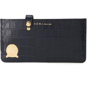 A.D.M.J. 牛革/クロコ型押し 定番 スリムウォレット 財布,NAVY