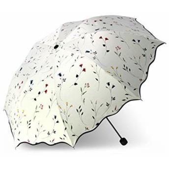 YIJODM 折り畳み傘 強度 8本骨 折りたたみ傘 花柄 晴雨兼用 レディース 日傘 UVカット 紫外線遮蔽率99% ・・・